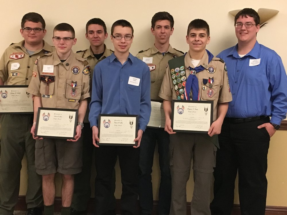 Eagle Scouts (l to r) Front: Evan Yost, Trey Glass, Brayden Costea, Back: Zack Haskell, Hunter Smith, Cameron Morrison, Dan Talkington