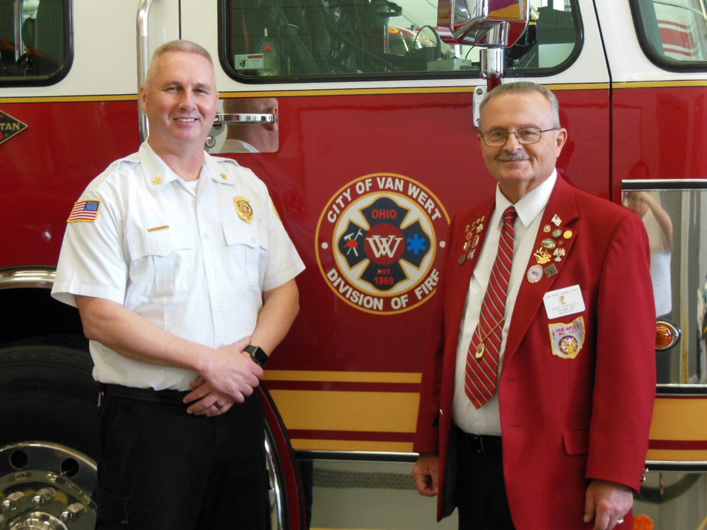 Pictured, left to right are Van Wert Fire Chief Jon Jones and Elks Lodge Secretary Michael C. Stanley.