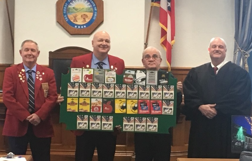 From left to right are Larry Cooper, Rich Russell (both from Athens Elks), Tom Smith and Judge George McCarthy