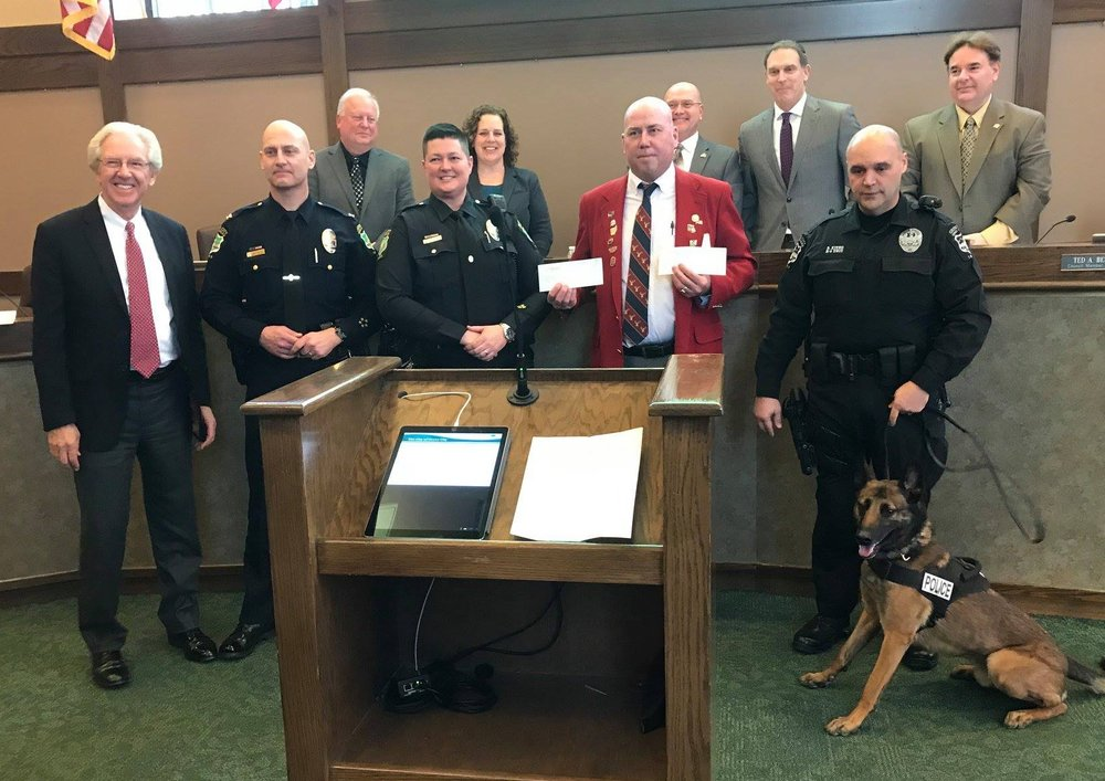 In the picture: Mayor Ike Stage(Elks Member) chief of Police Richard Butsko Jr , Dare Officer Misty Hutchinson, Me (Randy Seymour ER), K-9 Officer Brian Kitko and Max.   In the background City Council Members , Roby Schottke, Christine Houk, Council President Steve Robinette, Jeffery Davis and Ted Berry.