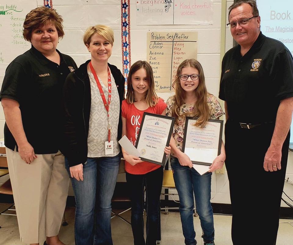 They are shown here with teacher, Mrs. Wright, and Elks Valerie & Steve Deedrick.
