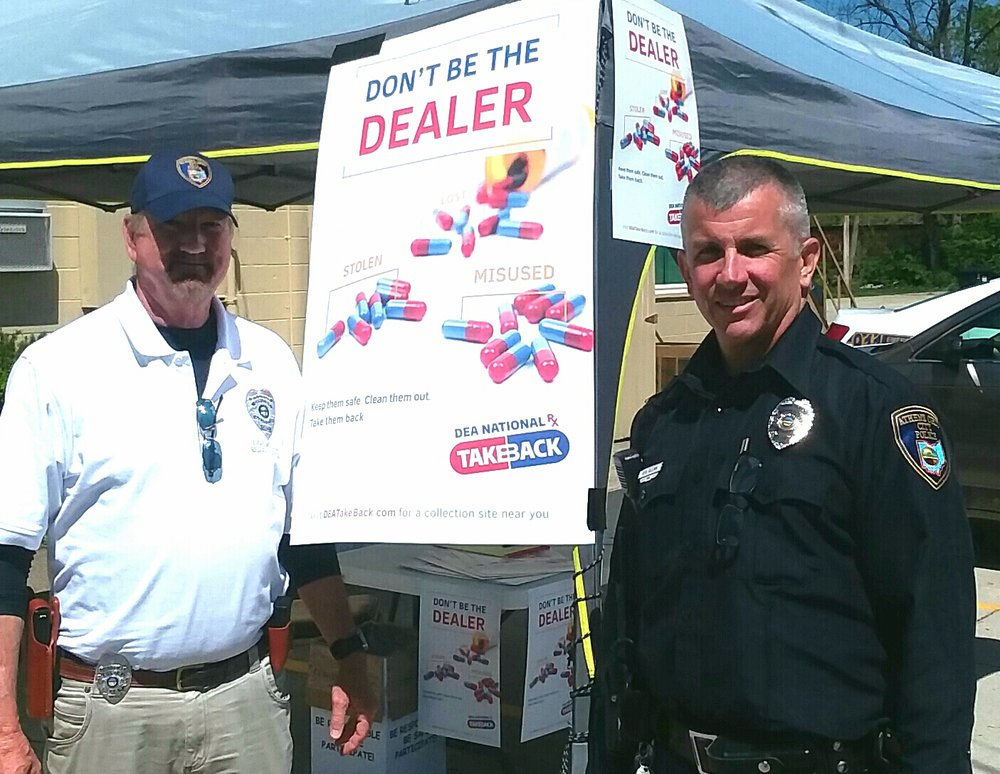 Pictured are Reserve Officer Dave Williams, Athens Police Department (and Elks SC District Drug Awareness Chairman)and Officer Rick Olexa at the collection site.