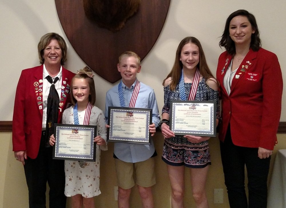 Hoop Shoot participants Patty McCully (State Champion), Shaylee Muckeroy and Parker Woods with Any Gabelt committee co chair and Cassie Gabelt, Exalted Ruler