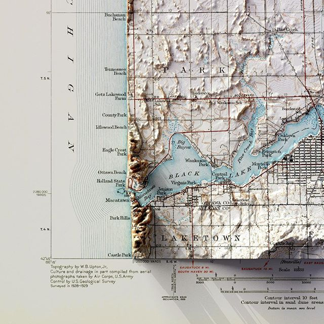 Learning how to create 3D elevations. Layered with a 1932 USGS map of Holland, Michigan