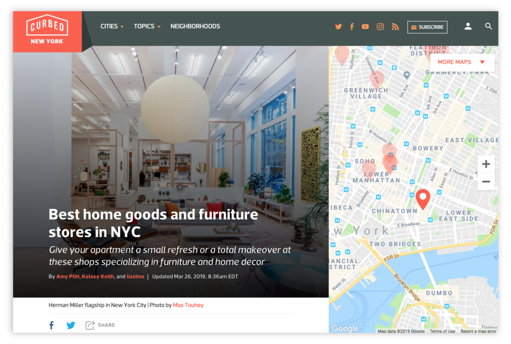 Maps product in use on Curbed