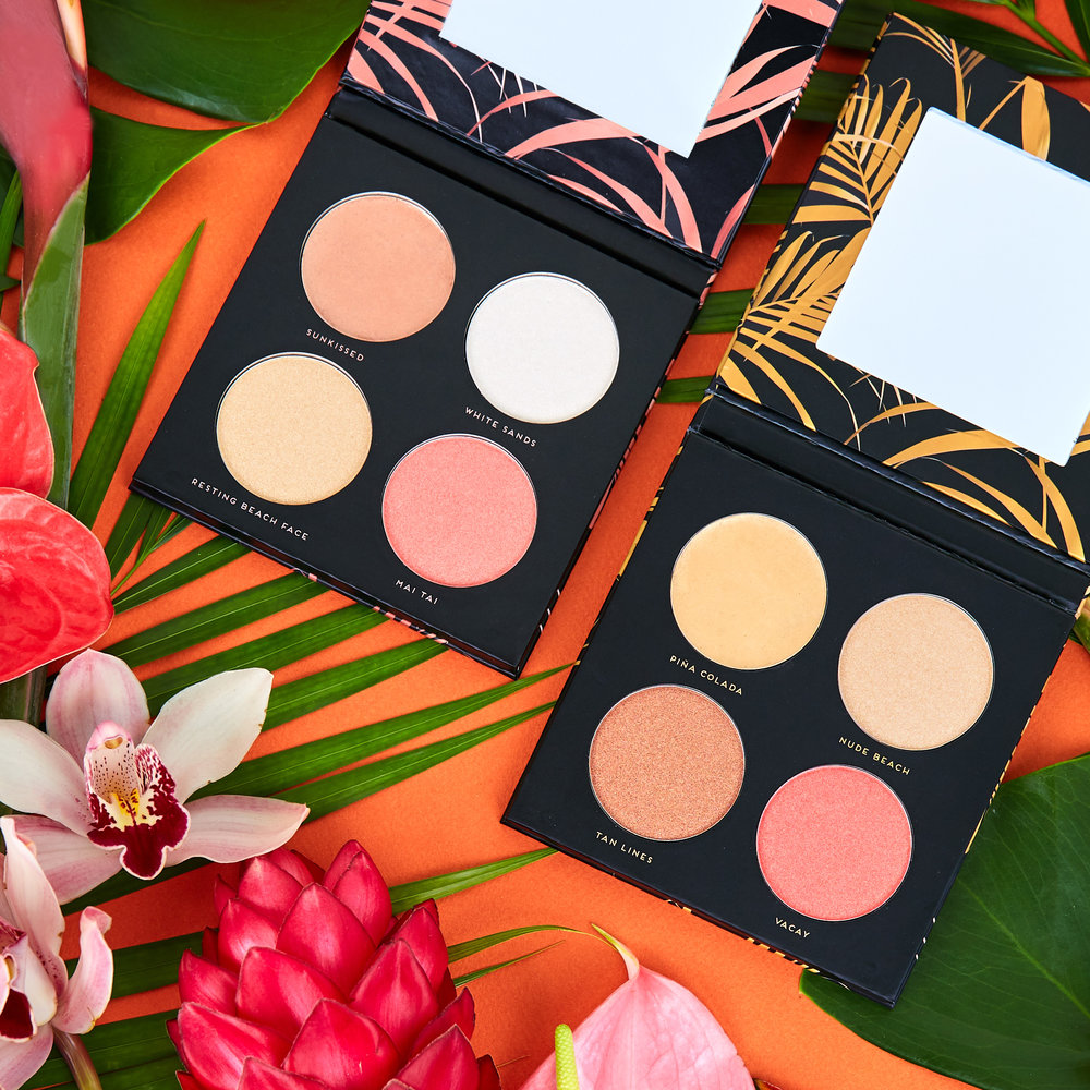 Oasis & Paradise - $12 each / $20 bundleGive yourself that effortless vacation glow anytime with Paradise and Oasis. Designed to be used individually or as a step-by-step process — each palette features a creamy highlighting base formulated with Shea butter that smooths skin and 3 shades in an intensely luminescent pressed-pearl formula to give you a sculpted and radiant glow. Paradise is designed for fair to medium skin tones and Oasis is designed for medium to dark skin tones.Cruelty-free  /  IngredientsAvailable at select boutiques and online at Hush.