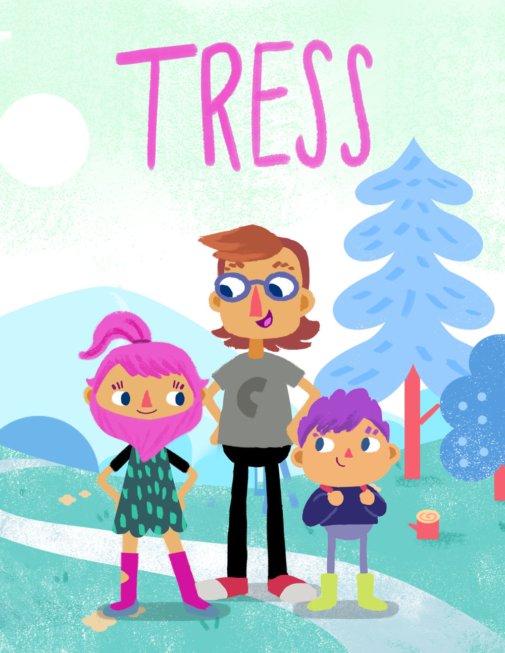 TRESS  Tress is not a show about a girl with a pink beard—it's a show about Tress, who has a pink beard, but also a dad and a brother and a million followers she likes to talk to through her videos as she lives her life in a sleepy town in Maine. (Animated)