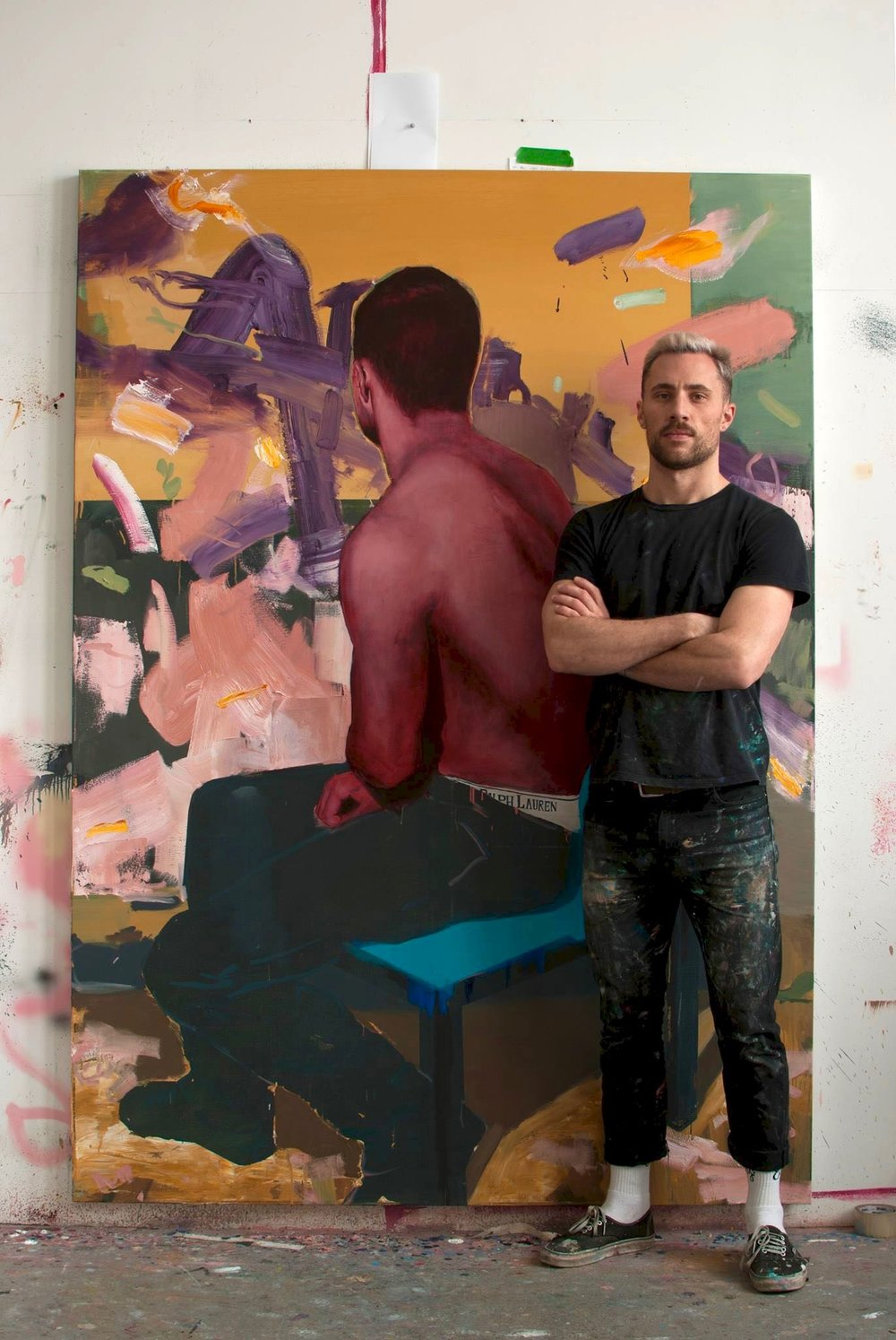 Artist Andrew Moncrief posing in front of his work for his debut solo exhibition  Man Enough, this coming March 2018 at Galerie Youn.