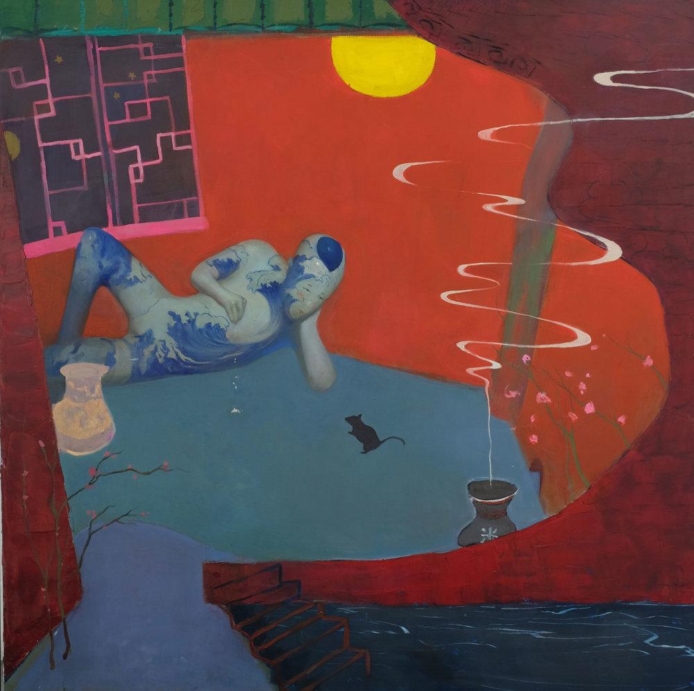 "Yang Cao - Liminal Night, huile sur toile, 2018, 48""x 48"""