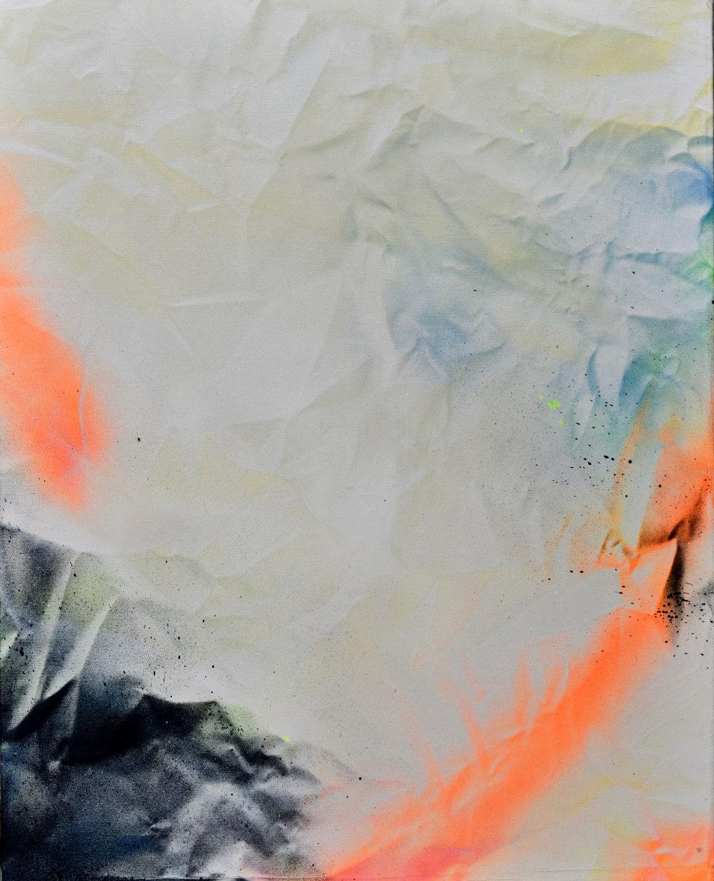 """Abstraction no.1 Sébastien Gaudette - Bombe aérosol sur toile, 2018, 20"""" x 16"""""""