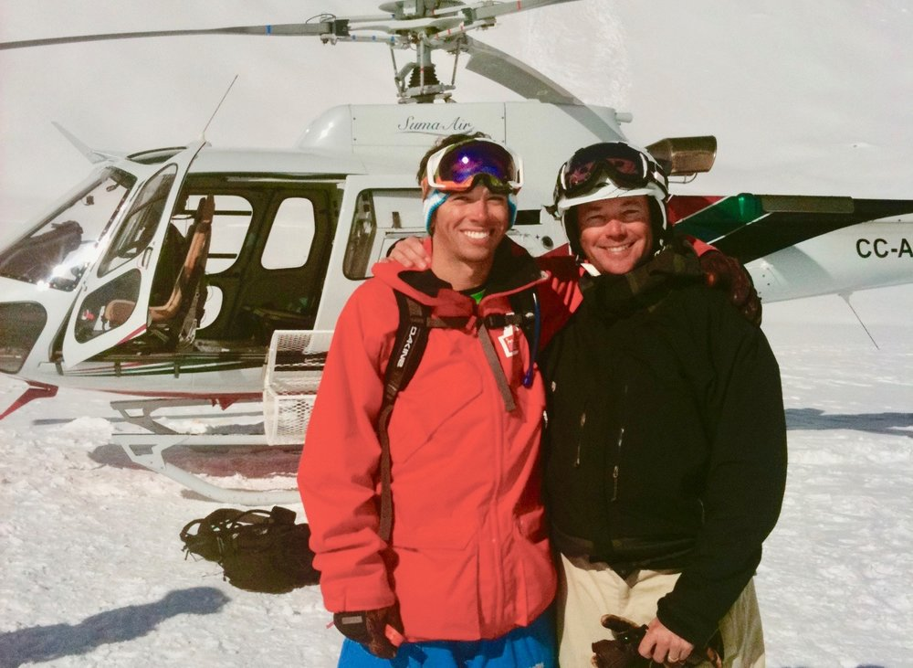 Father and son share a day of heli-skiing in the Andes.