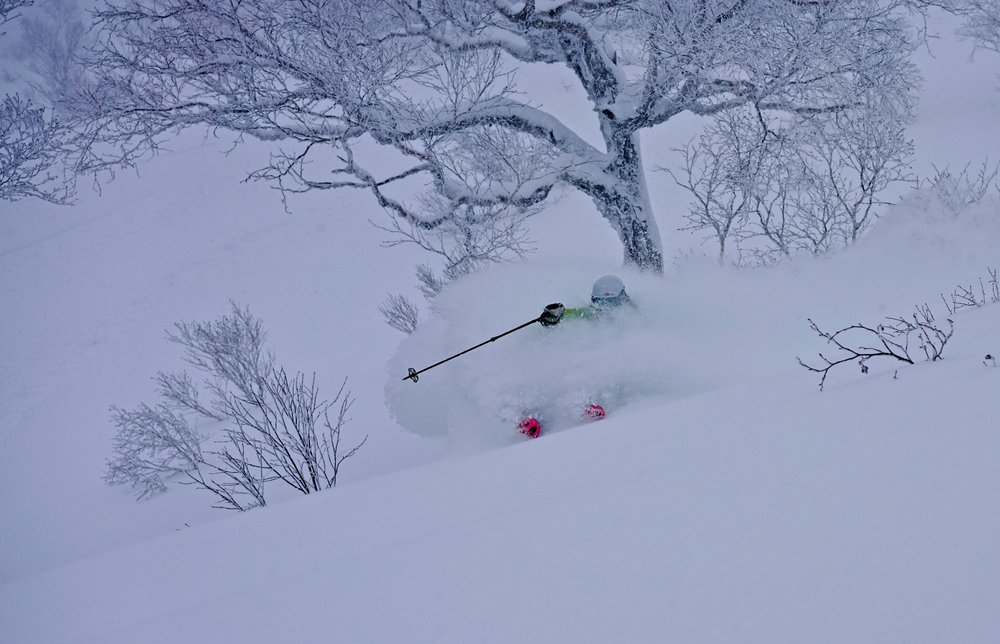 Kim getting pitted in deep, deep JaPOW. Photo: Geoff Benham