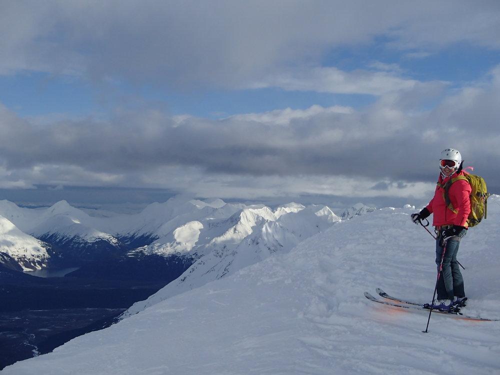 Brenda on top of the world in the Chugach Range, Alaska