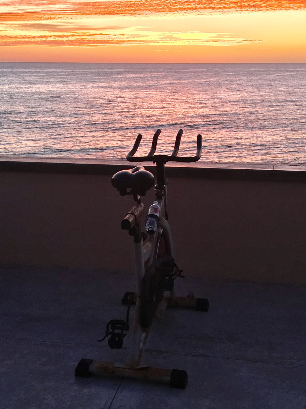 Kim's stationary bike at sunrise in Baja