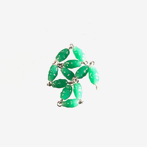 Japanese Vintage Glass Chain   Material: Glass & Metal   Vintage Japanese green glass is attached together with either gold metal or silver metal links.
