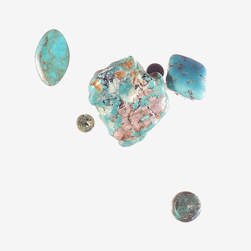 "Turquoise   Material: Semiprecious Stone   Turquoise is a bluish-greenish stone prized for its color. Turquoise comes from the 16th Century French word for ""Turkish"" because it was originally brought to Europe from Turkey."
