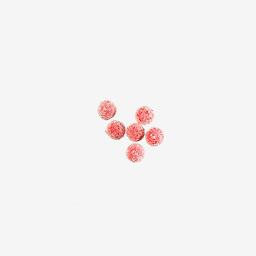 "Vintage Red ""Sugar""   Material: Acrylic   Vintage red ""sugar"" beads were made in Japan of an acrylic base with tiny acrylic beads randomly placed on the beads' surfaces to reflect light. Many of these beads have lost some of the acrylic surface beads."