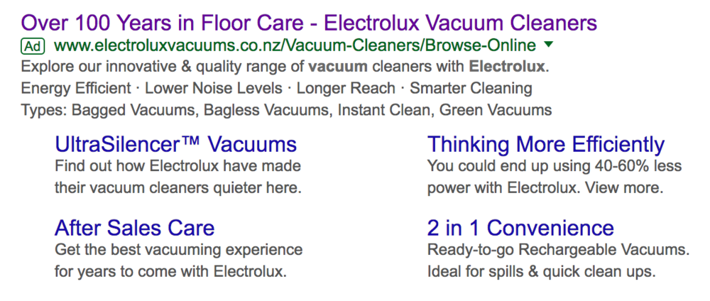 Electrolux Google Adwords Ad example
