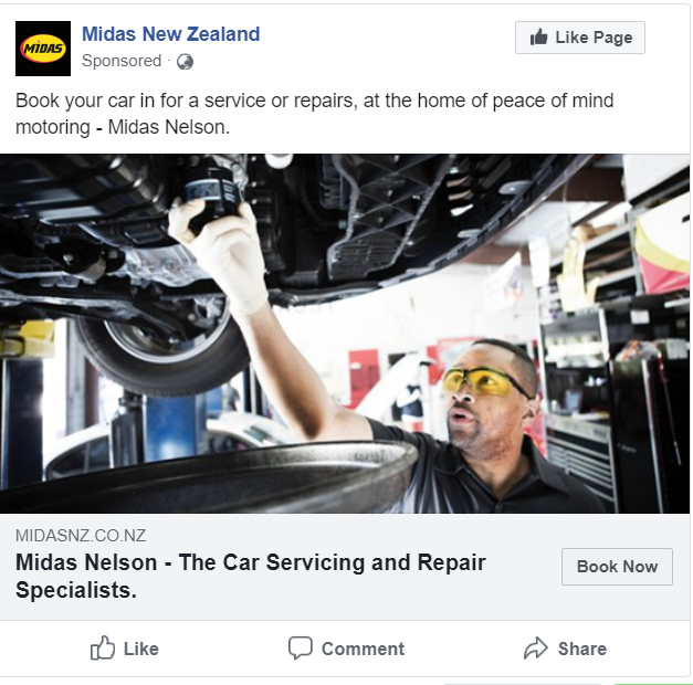 Midas Nelson Facebook Ad Example
