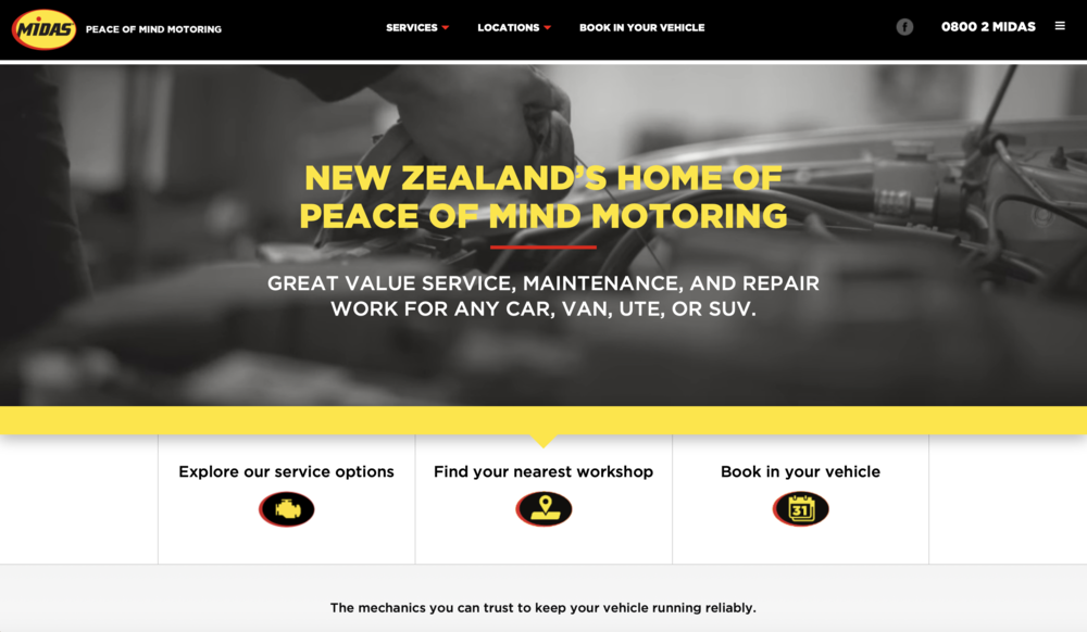 Midas NZ Website Home Page