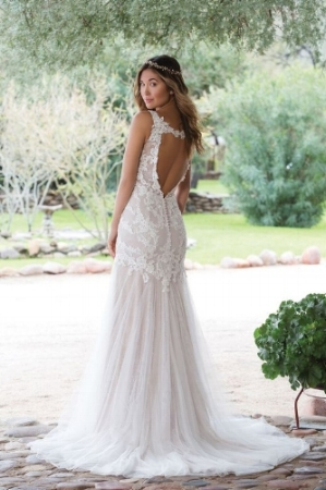 Sweetheart Bride - Venice Lace Trumpet Gown with Empire Waist -  STYLE  1140