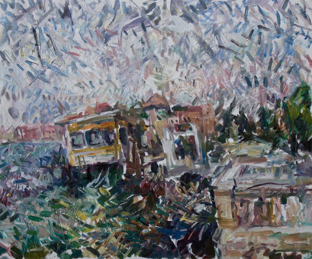 "Venice Vaporetto , 19.5 "" x 24"", oil and oil pastel on canvas, 2018"