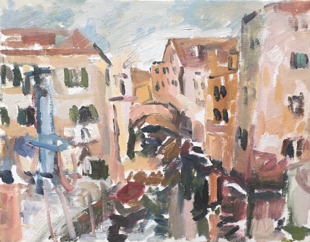 "Venezia Canal,  oil on canvas, 11"" x 14"", 2018"