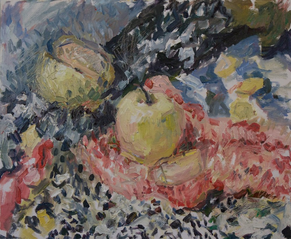 "Still-Life with Apples I , oil on canvas, 15"" x 18"", 2018"