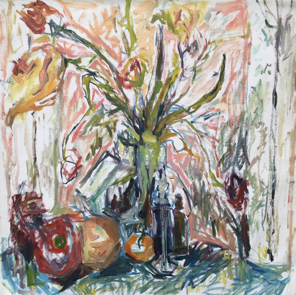 "Still-Life with Tulips and Pepper , oil on canvas, 24"" x 24"", 2018"