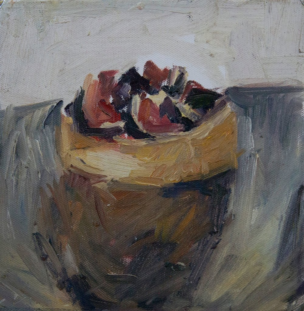 """French Pastry I, oil on canvas, 8"""" x 8'"""", 2017"""