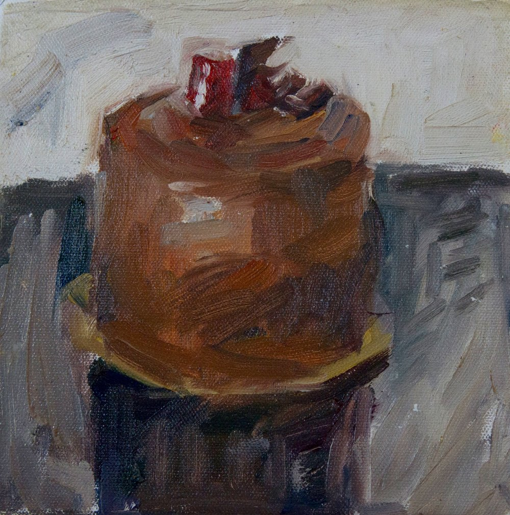 """French Pastry II , oil on canvas, 8"""" x 8"""", 2017"""