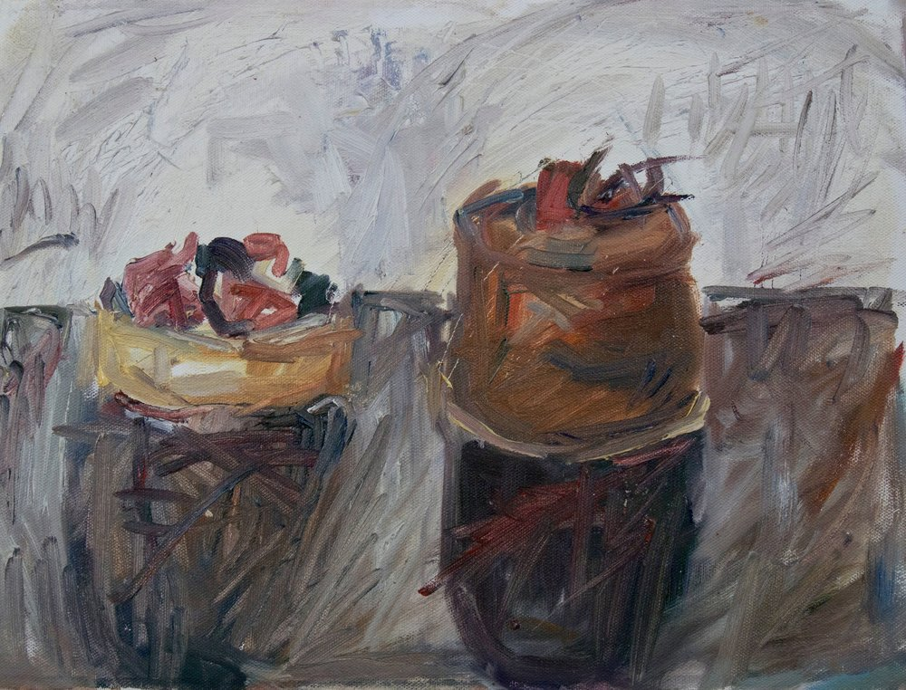 """French Pastries , oil on canvas, 12"""" x 16"""", 2018"""