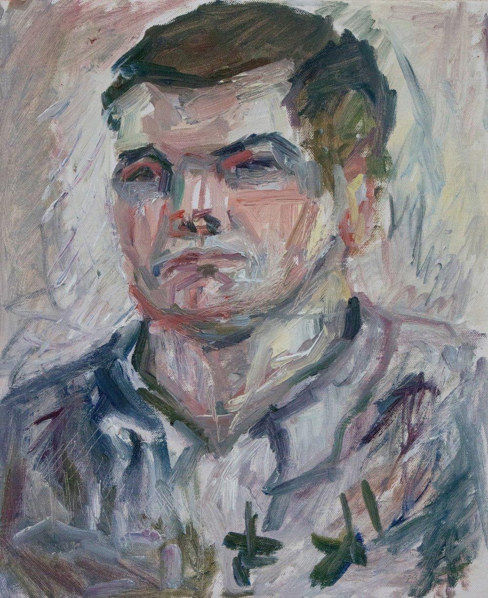 "Patrick , oil on canvas, 18"" x 15"", 2018"
