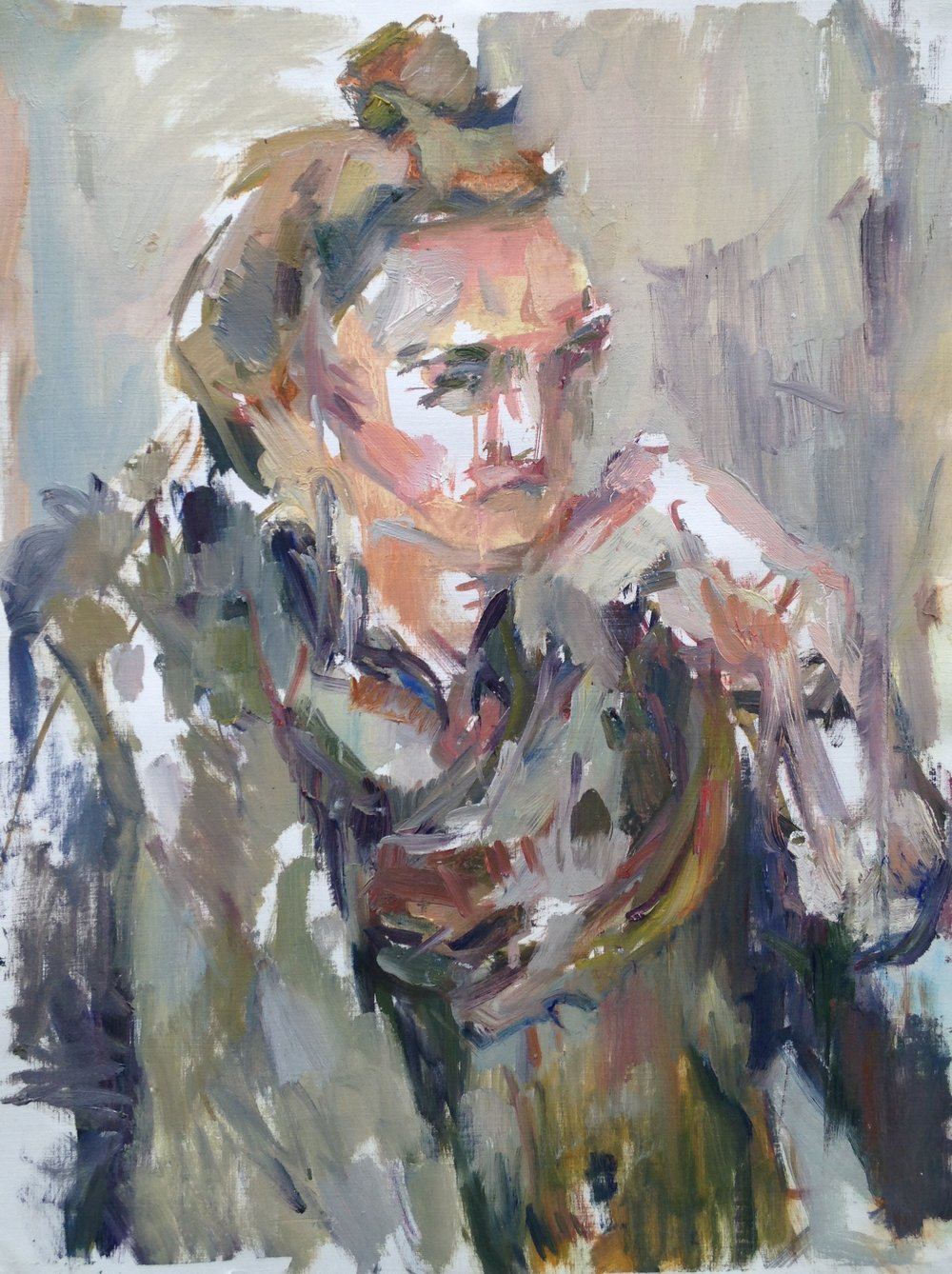 """Clare , oil on canvas paper, 18"""" x 15"""", 2016"""
