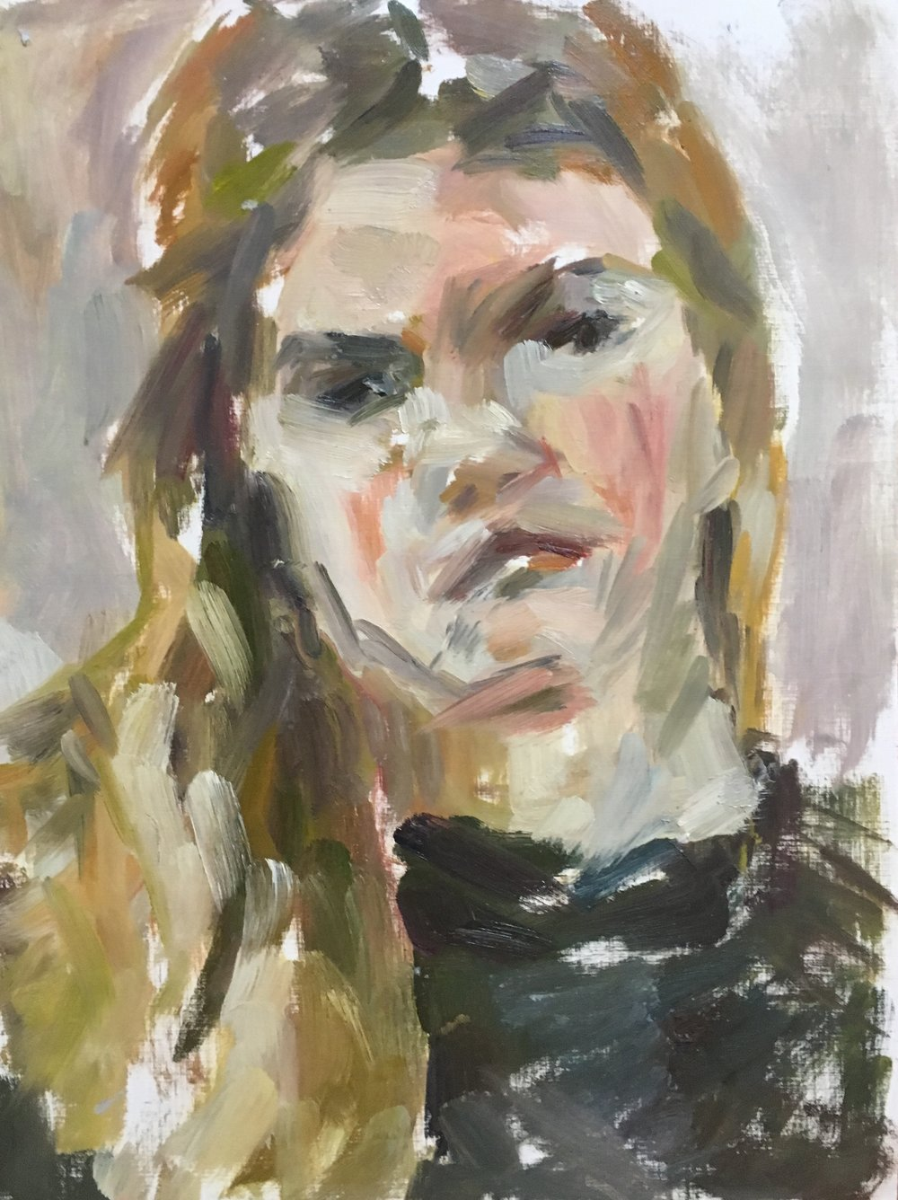 """Wesleigh , oil on canvas paper, 15.5"""" x 12"""", 2017"""