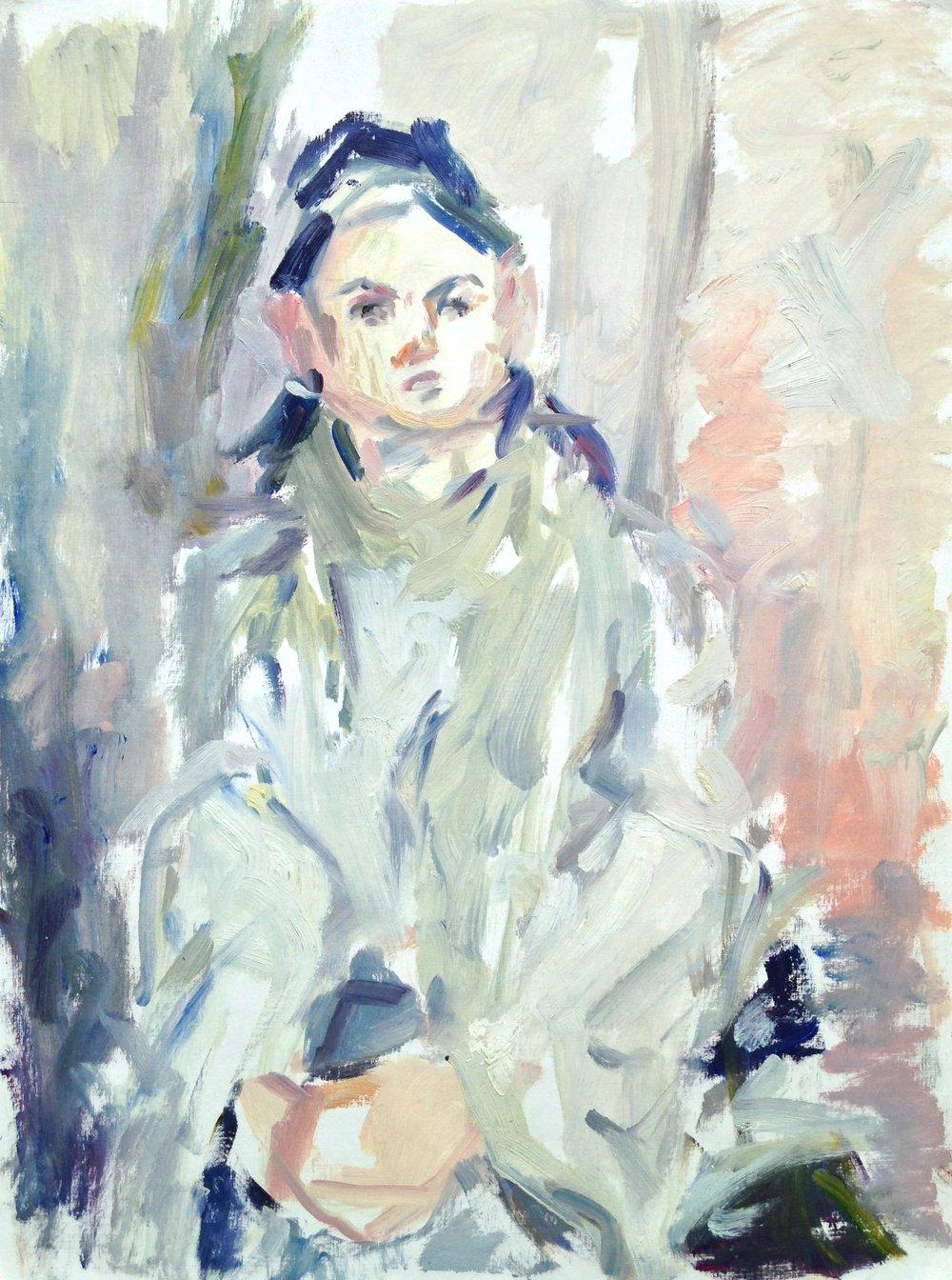 "Savannah, Sitting Tall , oil on canvas paper, 22"" x 16"", 2016"