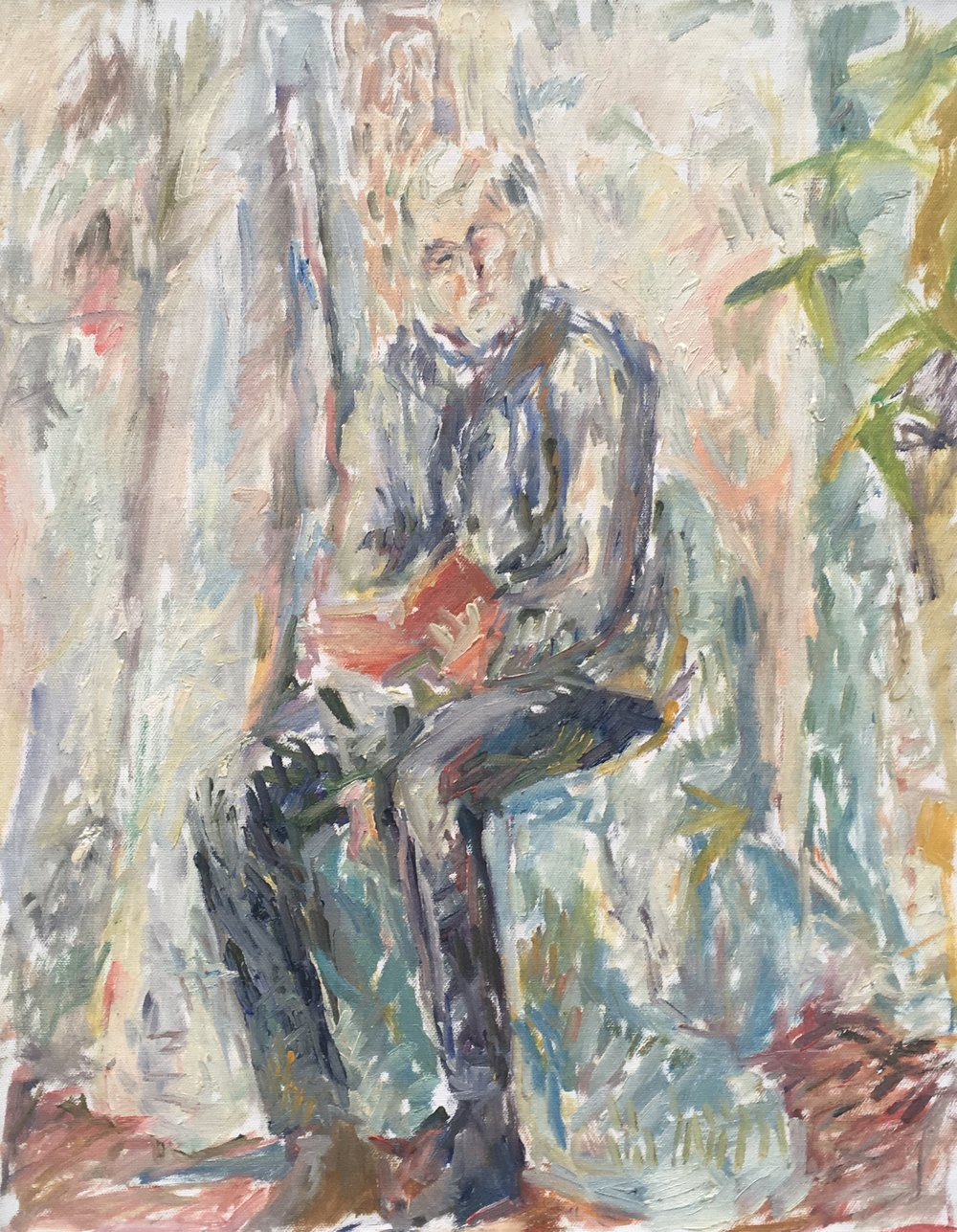 "John Reading Virginia Woolf , oil on canvas, 20"" x 16"", 2017"