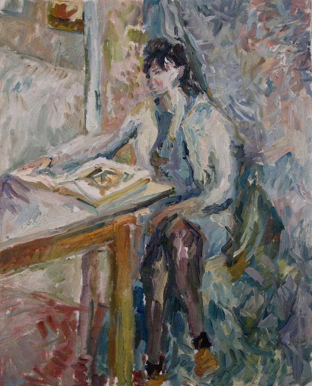 "Mary with Book , oil on canvas, 20"" x 16"", 2017"