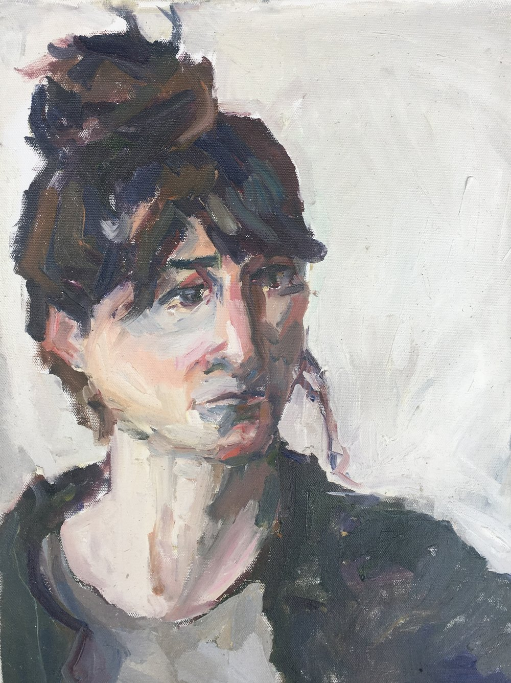 """Mary in Profile,  oil on canvas, 17"""" x 13"""", 2017"""