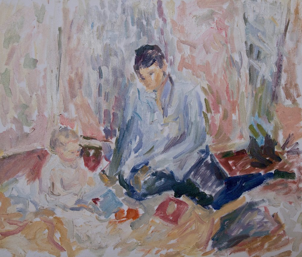 "Mother and Child Playing , oil on canvas, 15"" x 18"", 2017"