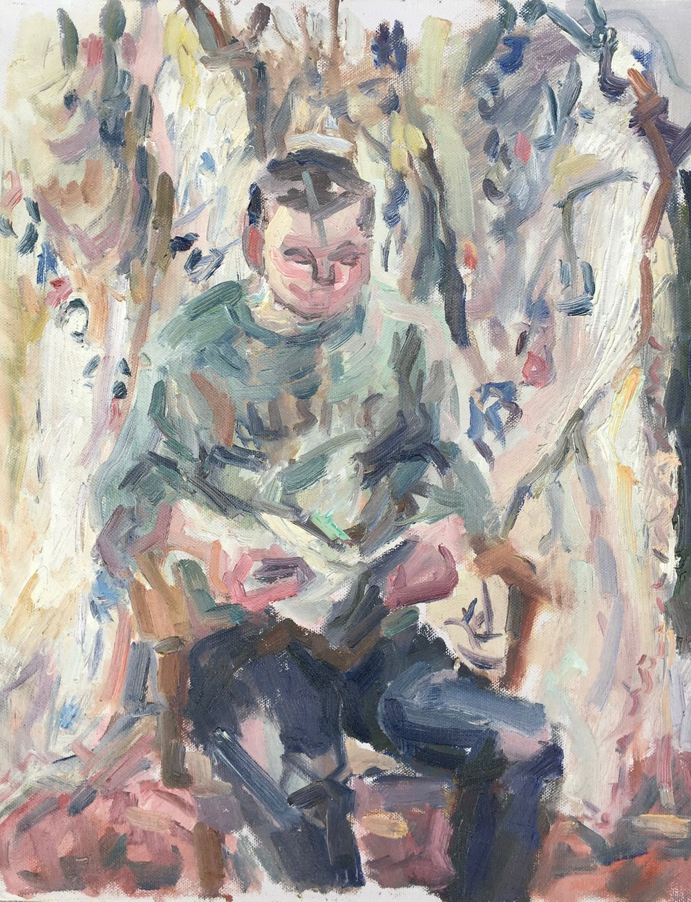 "Patrick Reading , oil on canvas, 20"" x 15.5"", 2018"