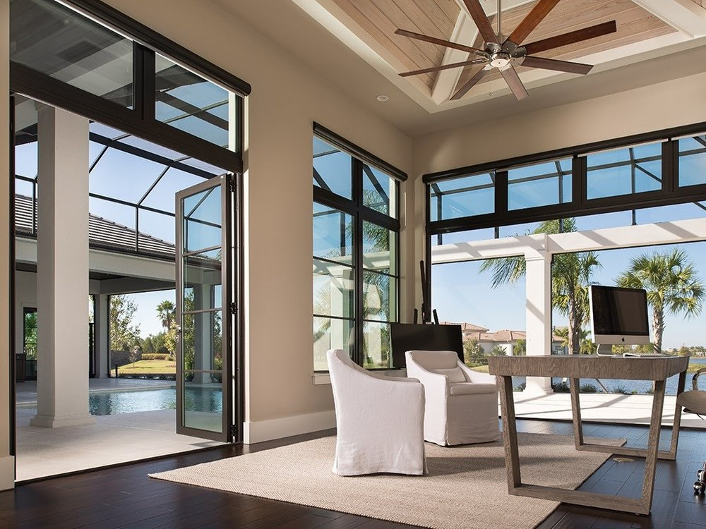 Folding Glass Doors Our aluminum bi-fold doors are entirely custom, are able to fit into openings of any size and are available in a huge range of opening configurations. Some brands that we carry are Origin, Lacanta, Andersen, Jeld-Wen.