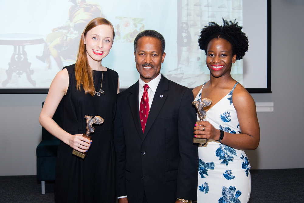 2016 President's Alumni Award recipients, Rachel Inman and Uchechi Kalu, with SCGSAH President, Dr. Cedric Adderley.