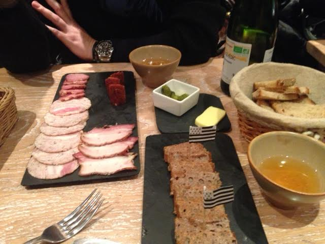 Charcuterie, seaweed butter crepes and cider at Breizh Cafe