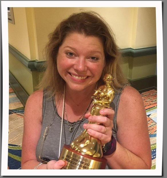 I mean, that's a statue that should be in a museum. Me with Cheryl Etchison's RITA award. For law of attraction purposes.
