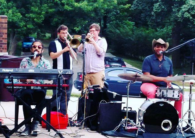 #street #concert #keys #drums #trombone #trumpet #vocals #musicians #life is #good #nord #roland #allegra #music #bros