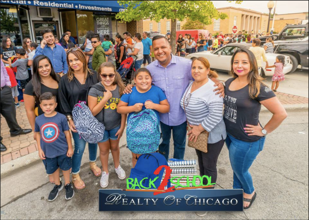 Realty of Chicago'sBack to School - Realty of Chicago's community emphasis begins with our kids, therefore when back to school rolls around, Realty of Chicago is ready. They prepare their office with all the essentials a young person needs to start their school year off right. They provide backpacks, notebooks, pens, pencils, and much more. Realty of Chicago strongly believes that in every child there is a big and bright future ahead of them.