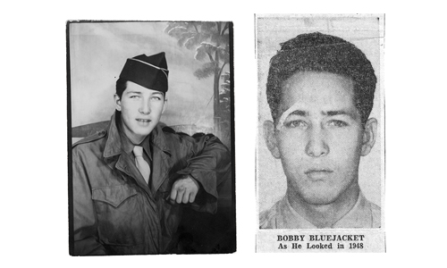 Left: BlueJacket in the U.S. Army, 1945. Right: BlueJacket arrested in 1948.