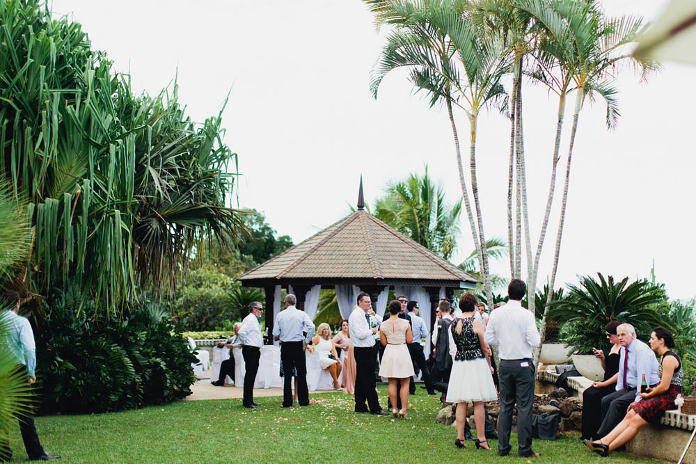 Ceremony - The beautiful palm lined and mosaic tiled walkway is the perfect backdrop to make your entrance before taking your vows in the exquisite hand carved timber wedding pavilion.