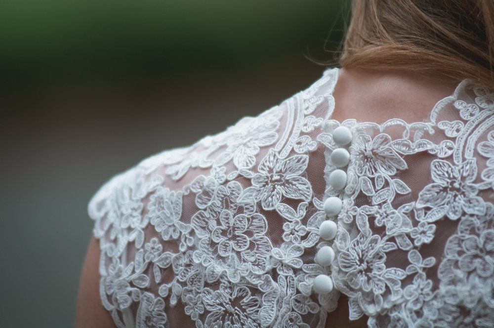 Lace applique on a wedding dress